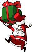 Santa Claus with box — Stock Vector
