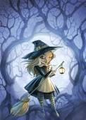 Witch with a broomstick — Stock Photo
