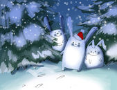 Funny rabbits in winter forest — Stock Photo
