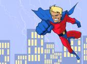 Mighty flying superhero — Stock Vector