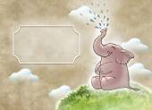 Funny elephant blowing water — Stock Photo