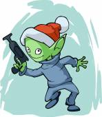 Christmas funny alien — Stock Vector