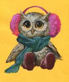 Owl wearing warm hat — Stock Photo