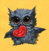 Owl holding a heart — Stock Photo