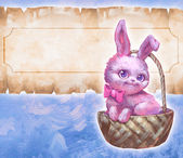 Easter bunny in a basket — Stock Photo