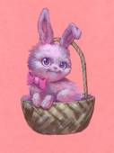 Rabbit with bow in basket — Stock Photo