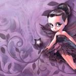 Beautiful gothic fairy holding with magic stick — Stock Photo #64708127