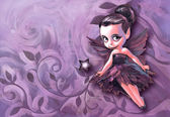 Beautiful gothic fairy holding with magic stick — Stock Photo