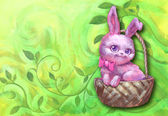 Cute pink easter rabbit — Stock Photo