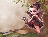 Beautiful fairy with butterfly wings — Stock Photo