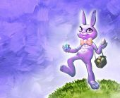 Easter bunny with basket — Stock Photo