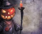 Jack O Lantern with candle — Stock Photo
