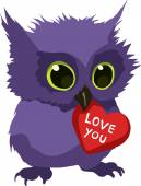 Cute owl with valentine — Stock Vector
