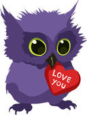 Cute owl with valentine — Vector de stock