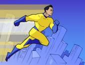 Mighty superhero in bright costume — Stock Vector
