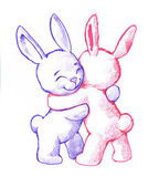 Cute rabbits hugging — Stock Photo