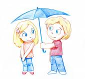 Guy and the girl under an umbrella — Stock Photo