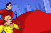 Two classic superheroes — Vector de stock