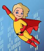Super kid in bright costume — Stock Vector