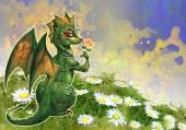 Dragon in the blooming field — Stock Photo