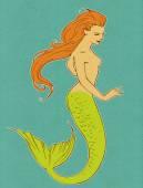 Beautiful red-haired mermaid — Stock Photo