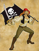Cartoon lady pirate — Stock Photo