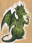 Green dragon with a flower — Stock Photo