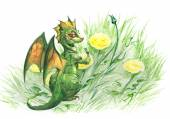 Funny dragon with a flower — Stock Photo