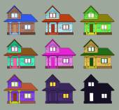 Set of cozy houses — Stock Vector