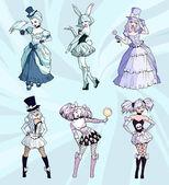 Gothic girls wearing dresses — ストックベクタ