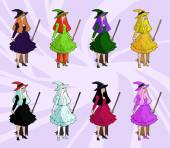性感女巫的扫帚 — 图库矢量图片
