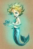 Fille mignonne sirène avec poisson — Photo