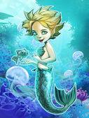 Niedliche Meerjungfrau-Mädchen mit Fisch — Stockfoto