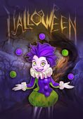 Halloween illustration of clown girl — Stock Photo