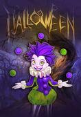 Halloween illustration of clown girl — Stockfoto
