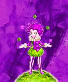 Illustration of juggling clown girl — Stock Photo