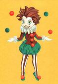 Illustration of juggling clown girl — Stock Photo