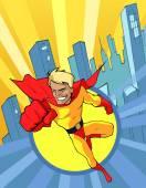 Superhjälte flyger fram — Stockvektor