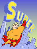 Super hero flying on the background of the city — Stock Vector