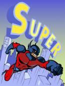 Cool superhero flying forward — Stock Vector