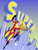Super girl in bright costume — Stock Vector