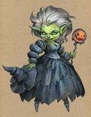 Halloween illustration with witch in ball dress — Stock Photo