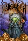 Halloween illustration with witch in ball dress — Foto de Stock