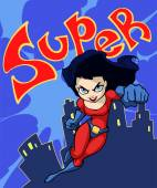 Cartoon super dame — Stockvector