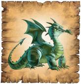 Paper scroll with a dragon — Stock Photo