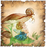 Fairy sitting under the mushroom — Stock Photo