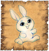 Paper scroll with cute cartoon rabbit — Stock Photo