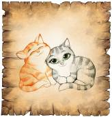 Paper scroll with two cute cats — Stock Photo