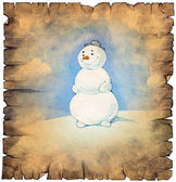 Old paper scroll with snowman — Stock Photo