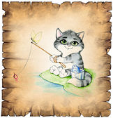 Old paper scroll with a fishing cat — Stock Photo